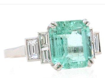 Silver Teal Diamond Ring