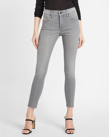 Mid Rise Gray Faded Seamed Skinny Jeans
