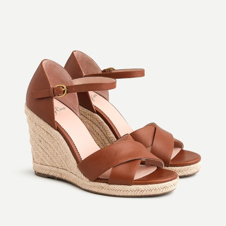 J.Crew: Jute Wedge Sandals In Leather For Women