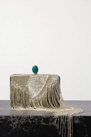 Embellished Silk-satin Clutch - Gold