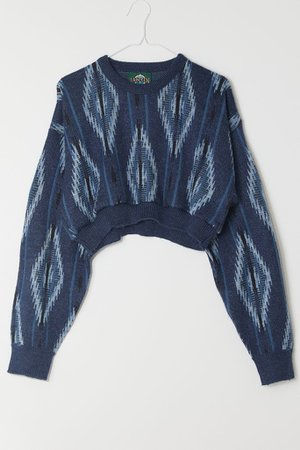 Urban Renewal Recycled Print Cropped Sweater | Urban Outfitters
