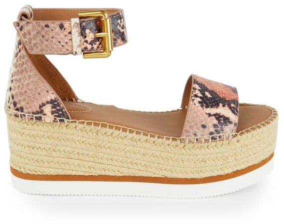 Glyn Leather Platform Espadrille Wedge Sandals