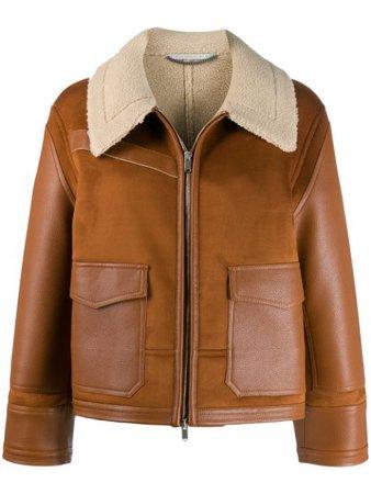 Stella McCartney Faux Leather shearling-trimmed Jacket - Farfetch