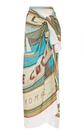 Agua De Coco Agua de Coco Printed Modal and Linen Wrap Pareo Skirt