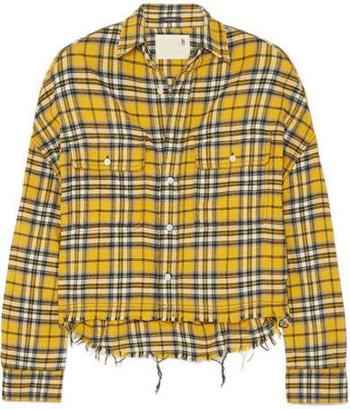 Cropped Checked Cotton-flannel Shirt - Yellow