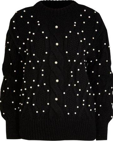 Black embellished cable knit jumper | River Island