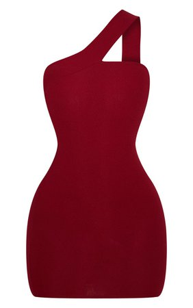 Burgundy One Shoulder Strap Bodycon Mini Dress | PrettyLittleThing USA