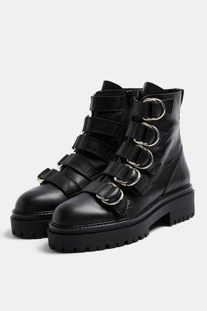 AQUARIUS Black Chunky Leather Boots | Topshop