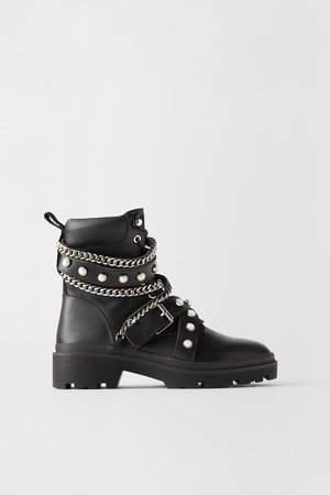 FLAT LEATHER MOTO ANKLE BOOTS - BEST SELLERS-WOMAN | ZARA United States black