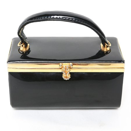 Black Patent Leather Box Purse