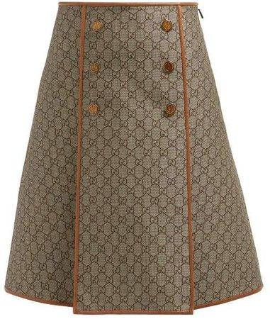 A Line Gg Jacquard Cotton Blend Skirt - Womens - Beige Multi