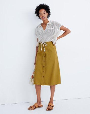 Tie-Waist Utility Midi Skirt