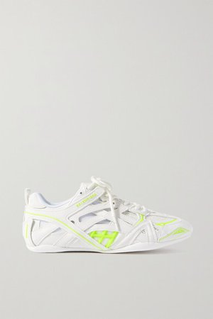 Drive Logo-print Leather, Rubber, Mesh And Suede Sneakers - White