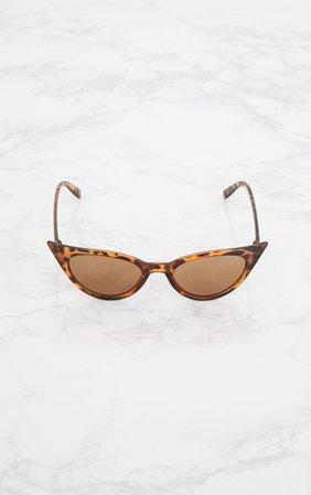 Brown Tortoiseshell Extreme Cat Eye Retro Sunglasses   PrettyLittleThing