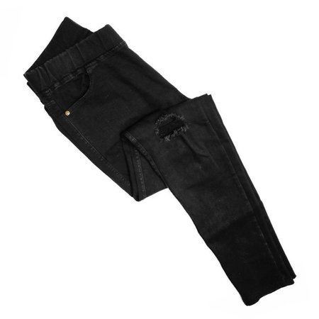 Just Jewelry Distressed Stretch Jeans-Black
