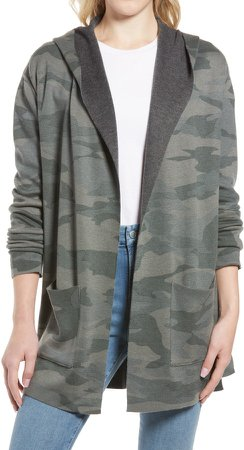 Cashblend Camo Hooded Open Front Cardigan