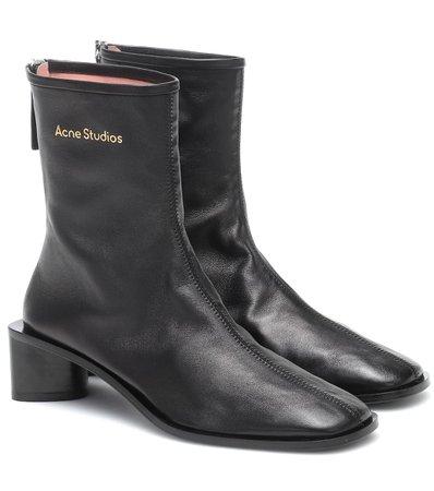 Acne Studios - Leather ankle boots | Mytheresa