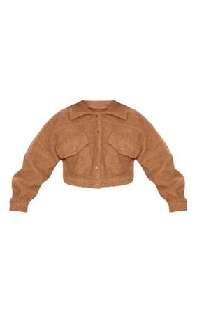 Camel Cropped Borg Trucker | Coats & Jackets | PrettyLittleThing