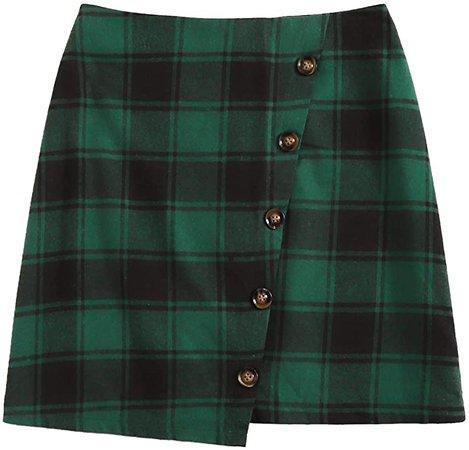 WDIRARA Women's Houndstooth Print Button Front High Waist Plaid Mini Short Skirt