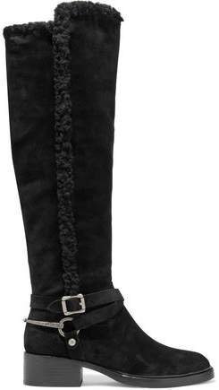 Shearling-trimmed Suede Knee Boots