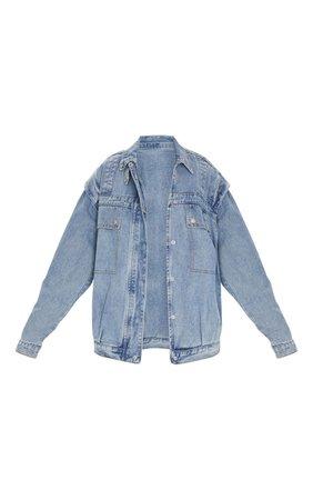Vintage Wash Large Pocket Pleated Detail Oversized Denim Jacket | PrettyLittleThing USA