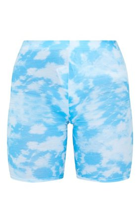 Basic Blue Tye Die Cycle Shorts | Shorts | PrettyLittleThing