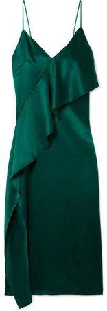 Draped Silk-satin Dress - Forest green
