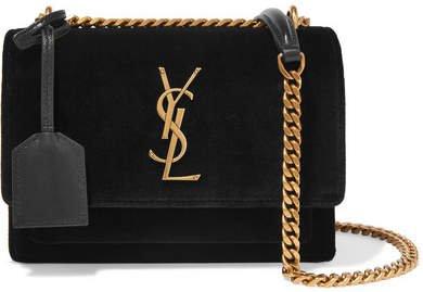Sunset Small Velvet And Leather Shoulder Bag - Black