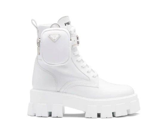 Prada Monolith Boots White Nylon