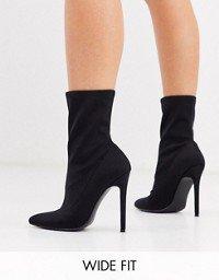ASOS DESIGN Esmerelda high heeled sock boots in black   ASOS