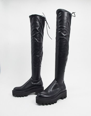 Lamoda over the knee pull on boots in black | ASOS