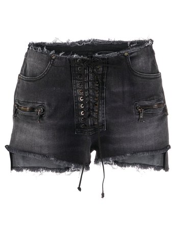 Shop black UNRAVEL PROJECT frayed lace-up denim shorts with Express Delivery - Farfetch