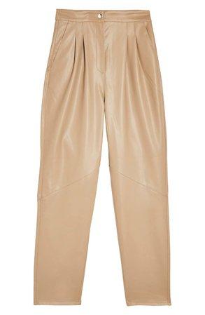 Topshop Faux Leather Peg Trousers camel