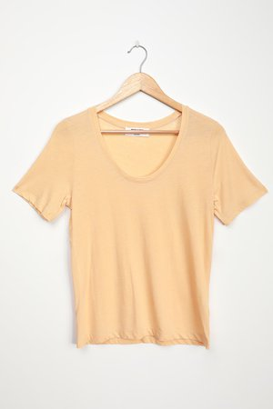 Comfy Yellow Tee - Scoop Neck Tee - Casual Basic T-Shirt