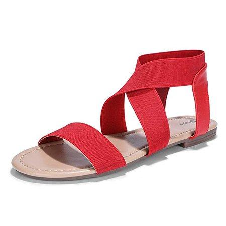 Amazon.com | IDIFU Women's Judy Comfy Flats Sandals Criss-Cross Open Toe Elastic Strap Beach Shoes (7 M US, Red) | Flats