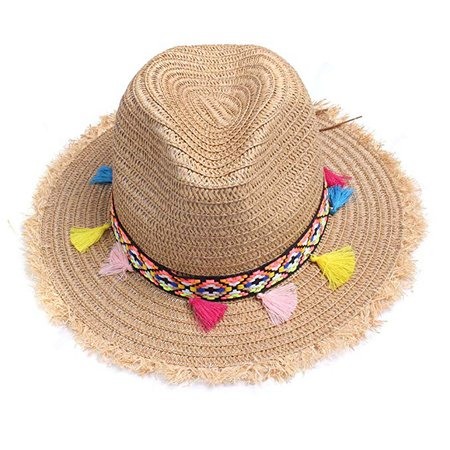 Vankerful Colorful Tassels Fashion Women's Straw Hat Wide Brim Beach Summer Sun Protection Hat Kakhi at Amazon Women's Clothing store: