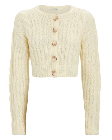 Anna October Cropped Cable Knit Cardigan | INTERMIX®