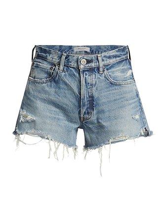 Moussy Vintage Shirley Distressed Denim Shorts | SaksFifthAvenue