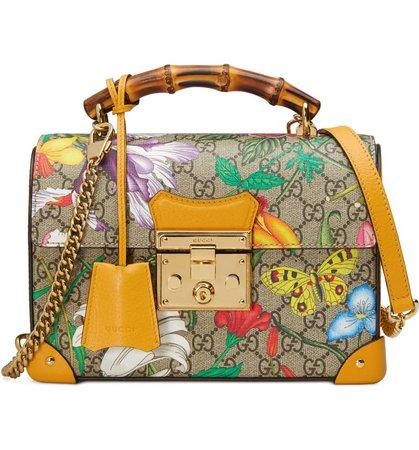 Gucci Padlock Floral Bamboo Handle Canvas & Leather Shoulder Bag   Nordstrom