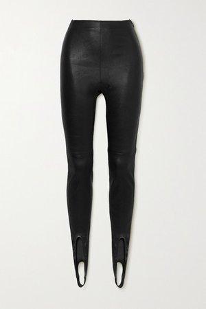 Leather Stirrup Leggings - Black