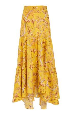 La Cumbia Asymmetric Floral Cotton-Poplin Maxi Skirt by Johanna Ortiz | Moda Operandi
