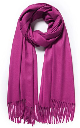 Cindy & Wendy Large Soft Cashmere Feel Pashmina Solid Shawl Wrap Scarf for Women (Dark Fuchsia) at Amazon Women's Clothing store