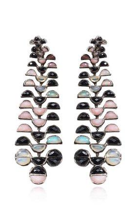 Nakard Large Reptile Girandole Sterling Silver Multi-Stone Earrings By Nak Armstrong | Moda Operandi