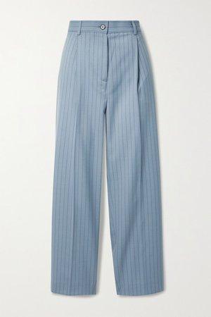 Pleated Pinstriped Wool Straight-leg Pants - Blue