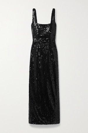 Bassett Sequined Tulle Dress - Black