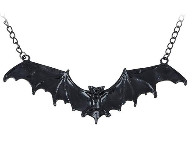 Alilang Frightening Halloween Black Enamel Paint Flying Bat Metal Chain Necklace Pendant
