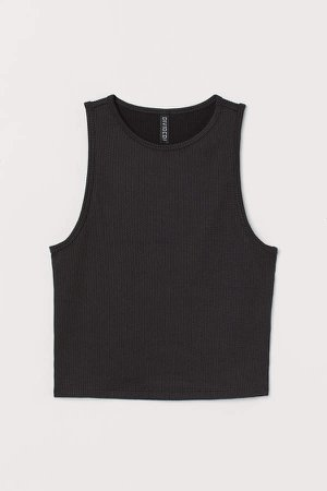 Ribbed Tank Top - Black