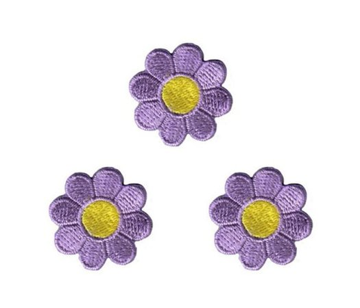 Lot of 3 Daisy Lavender with Yellow Center Embroidered Iron On | Etsy