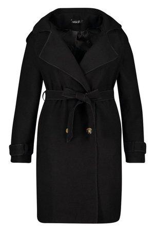 Plus Military Detail Wool Look Trench Coat | Boohoo black