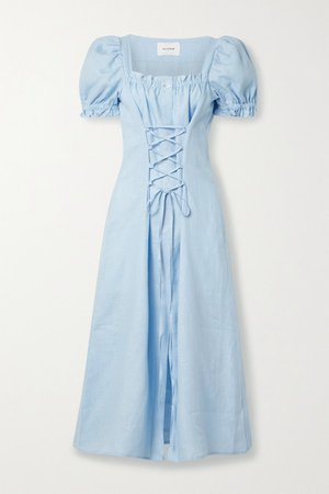 Sleeper | Marquise lace-up linen midi dress | NET-A-PORTER.COM